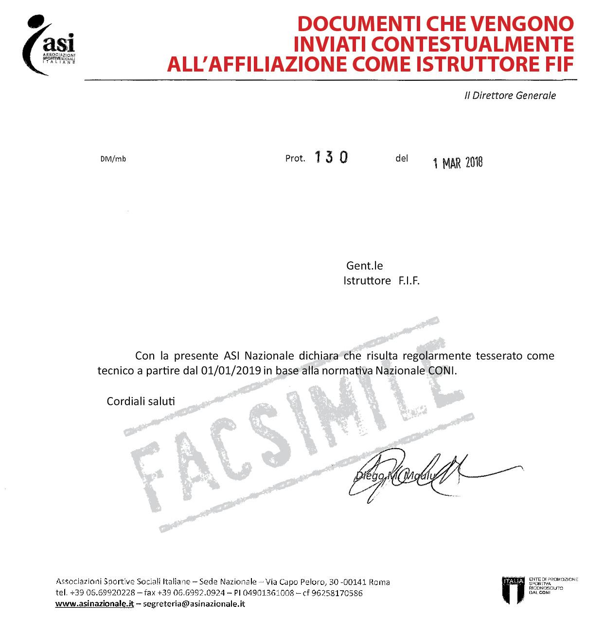 dichiarazione ASI